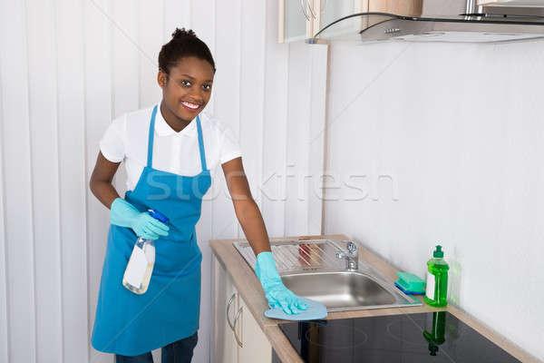 Kobiet woźny czyszczenia umywalka młodych szczęśliwy Zdjęcia stock © AndreyPopov