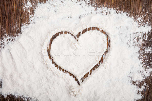 High Angle View Of Heart Drawn On Flour Stock photo © AndreyPopov