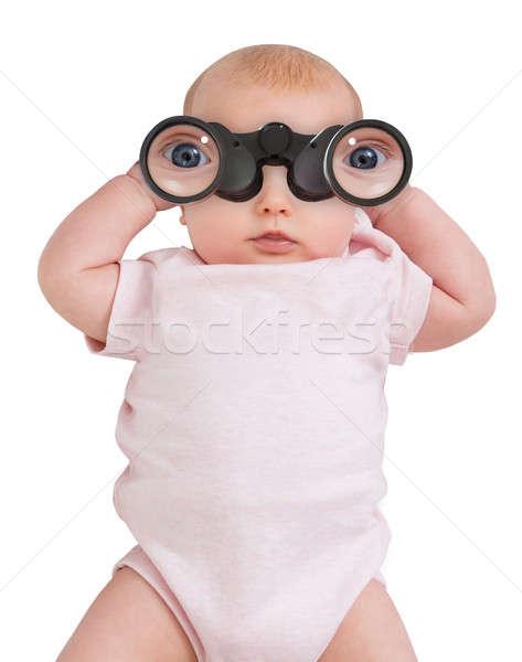 Niewinny dziecko patrząc dziewczyna baby szkła Zdjęcia stock © AndreyPopov