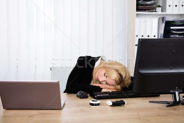 Сток-фото: женщину · спальный · устал · работу