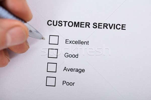 Servizio di assistenza soddisfazione sondaggio forma primo piano persona Foto d'archivio © AndreyPopov