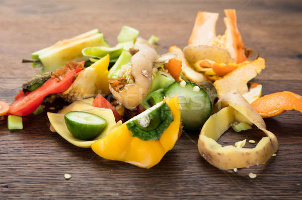 Vegetable And Fruit Peelings On Table Stock photo © AndreyPopov