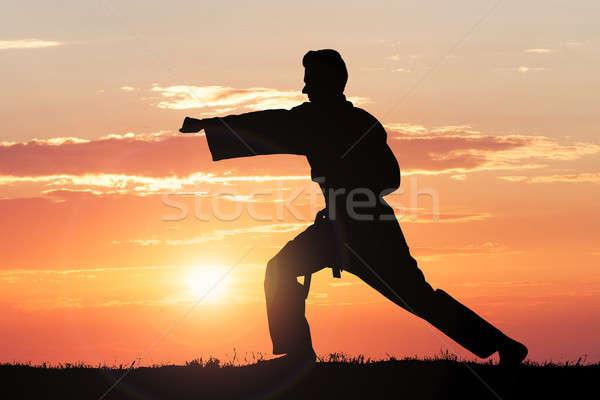Silhouet man oefenen karate dramatisch hemel Stockfoto © AndreyPopov