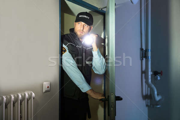 Security Guard Searching With Flashlight In Room Stock photo © AndreyPopov