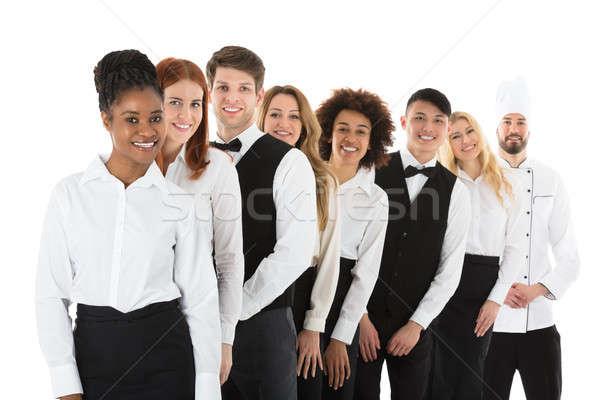 ресторан сотрудников Постоянный счастливым белый Сток-фото © AndreyPopov