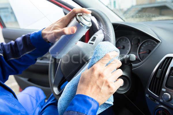 Man schoonmaken auto stuur werknemers Stockfoto © AndreyPopov