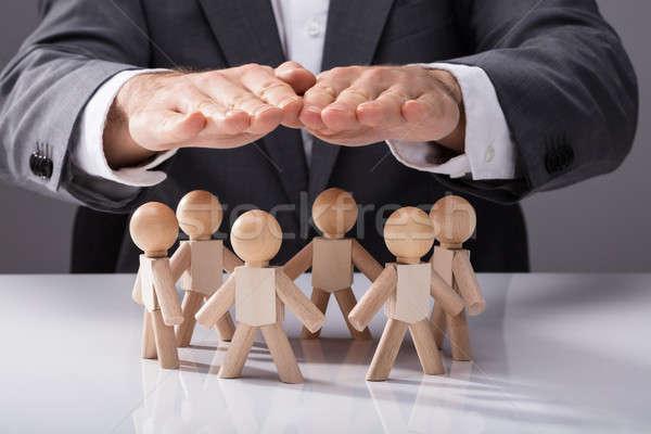 Emberi kéz fából készült üzlet kéz terv üzletember Stock fotó © AndreyPopov