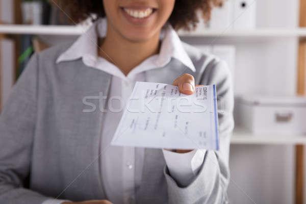 Stockfoto: Cheque · kantoor · hand · witte · bureau