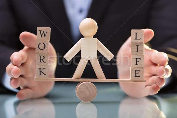 üzletember egyensúly élet munka közelkép kéz Stock fotó © AndreyPopov