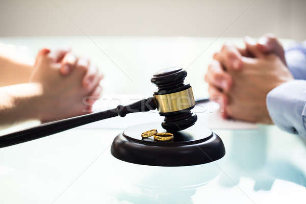 Close-up Of Gavel And Wedding Rings Stock photo © AndreyPopov