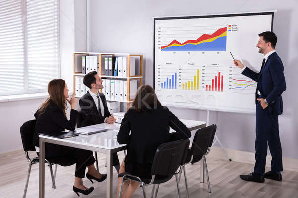 Businessman Explaining Graphs To His Colleagues Stock photo © AndreyPopov