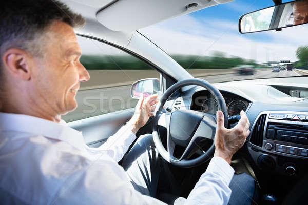 Man Traveling In Self Driving Car Stock photo © AndreyPopov