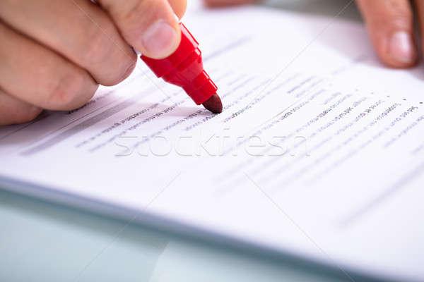 Halten Marker Dokument Hand Stock foto © AndreyPopov