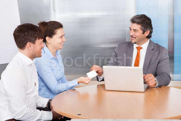 Berater Karte Paar reifen männlich glücklich Stock foto © AndreyPopov