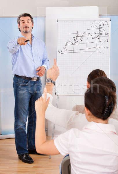 Empresário indicação dedo colega pessoas de negócios mão Foto stock © AndreyPopov