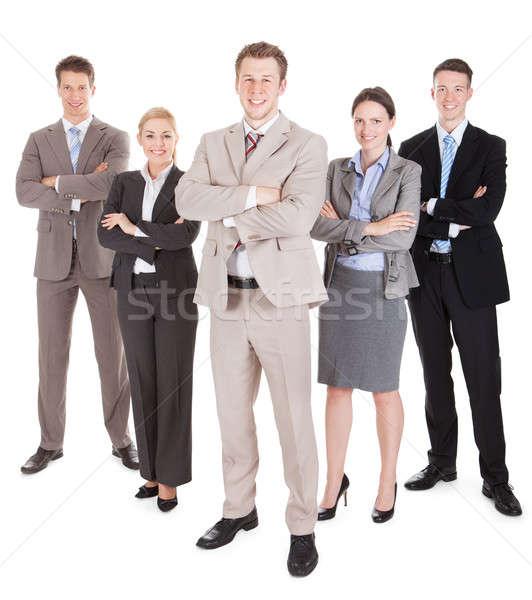 Zespół firmy stałego portret biały Zdjęcia stock © AndreyPopov