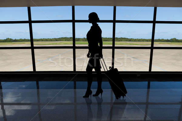 Businesswoman with baggage walking against airport window Stock photo © AndreyPopov