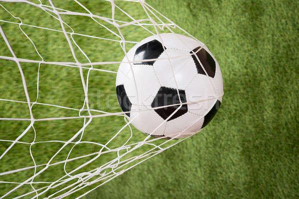 Voetbal net gras sport veld Stockfoto © AndreyPopov