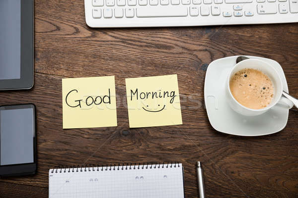 The Text Good Morning On Note With Cup Of Coffee Stock photo © AndreyPopov