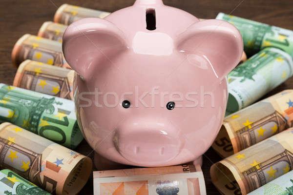 Piggybank With Euro Notes Stock photo © AndreyPopov