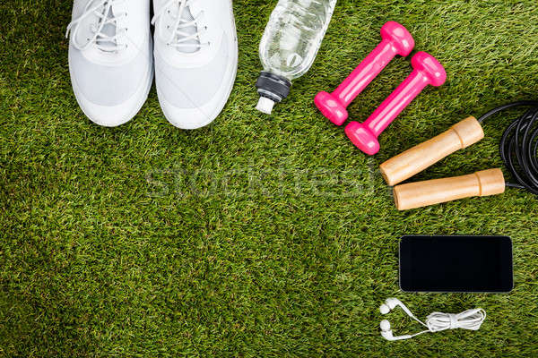 Exercise Equipment Arranged On Grassy Field Stock photo © AndreyPopov