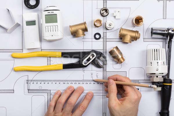 építész dolgozik terv radiátor berendezési tárgyak közelkép Stock fotó © AndreyPopov