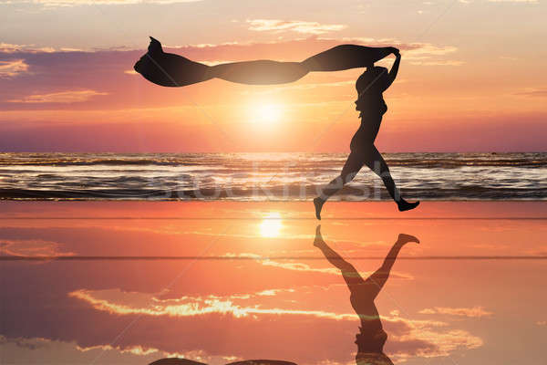 Silhouette Of A Woman With Flying Scarf At Beach Stock photo © AndreyPopov