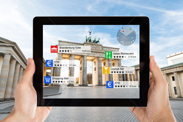 Stock photo: Augmented Reality Tourist Information At Brandenburg Gate