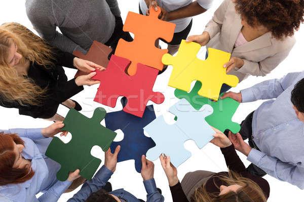 Groep college studenten puzzel Stockfoto © AndreyPopov