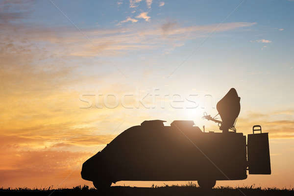 Silhouette Of TV News Truck Stock photo © AndreyPopov