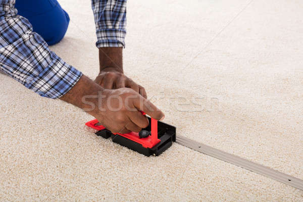 Craftsman Installing Carpet On Floor Stock photo © AndreyPopov