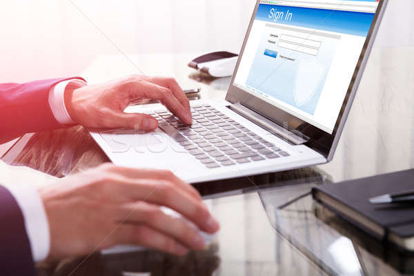 Businessperson Signing Into A Website On Laptop Stock photo © AndreyPopov