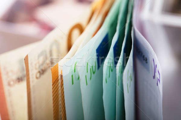 Közelkép Euro bankjegyek kilátás csetepaté üzlet Stock fotó © AndreyPopov