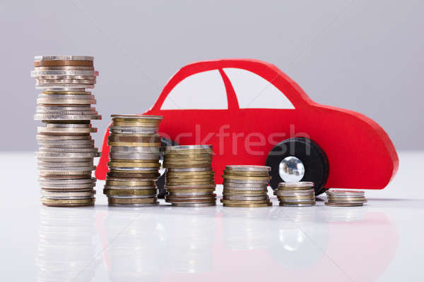 Stockfoto: Rood · auto · munten · grijs · business