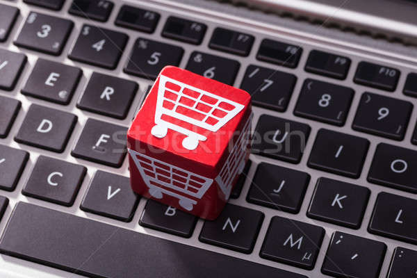 Shopping Cart Symbol Block Over The Laptop Keypad Stock photo © AndreyPopov