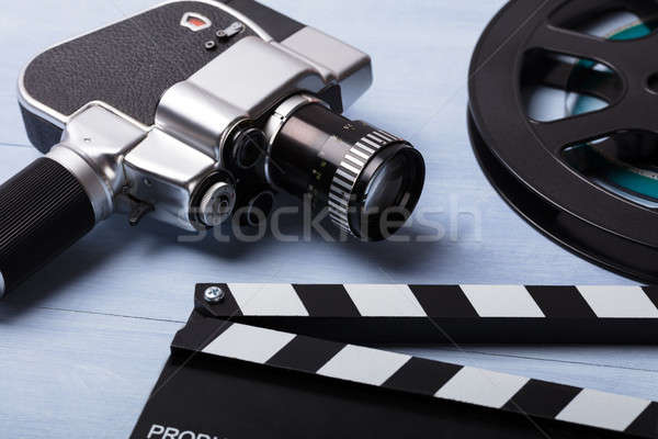 Close-up Of Movie Camera With Film Reel And Clapper Board Stock photo © AndreyPopov
