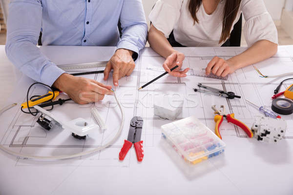 Two Architect Working With Work Tools Stock photo © AndreyPopov