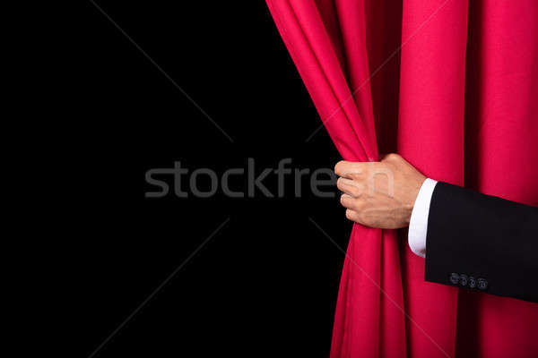 Two Men Opening Red Curtain Stock photo © AndreyPopov