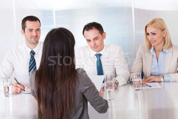 Business Woman Speaking At Interview Stock photo © AndreyPopov
