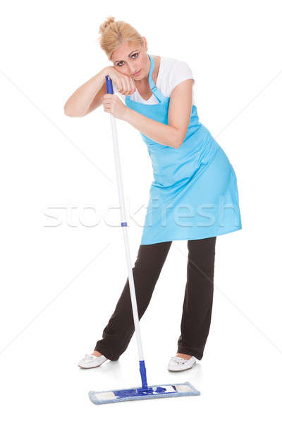 Portrait Of Woman Leaning On Broom Stock photo © AndreyPopov