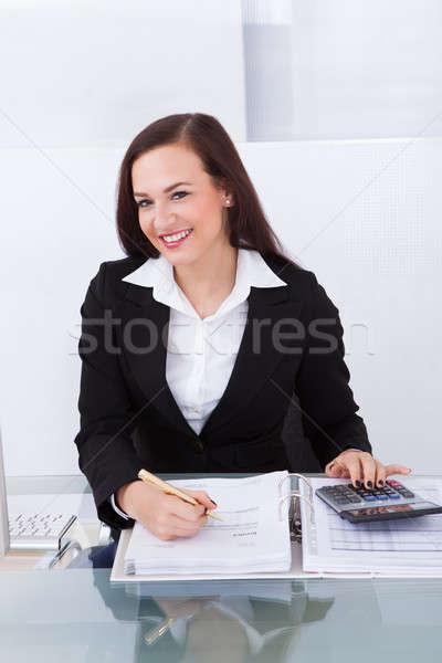 Сток-фото: счастливым · деловая · женщина · налоговых · портрет · столе · служба