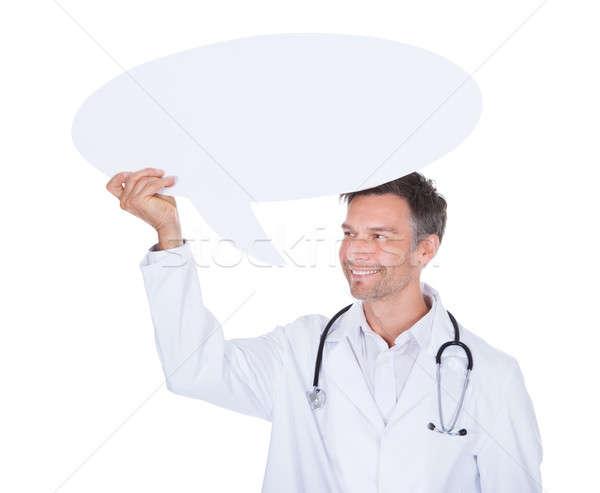 医師 思考バブル 肖像 幸せ 成熟した ストックフォト © AndreyPopov