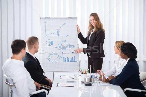 Zakenvrouw presentatie groep naar uitleggen Stockfoto © AndreyPopov