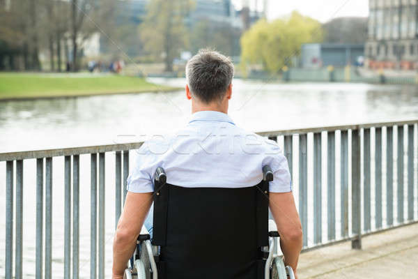 вид сзади инвалидов человека коляске глядя озеро Сток-фото © AndreyPopov