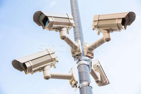 Сток-фото: четыре · камеры · безопасности · полюс · мнение · технологий