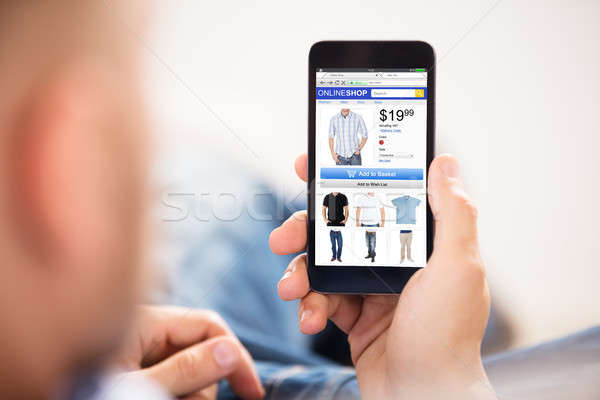 Man Doing Online Shopping Stock photo © AndreyPopov