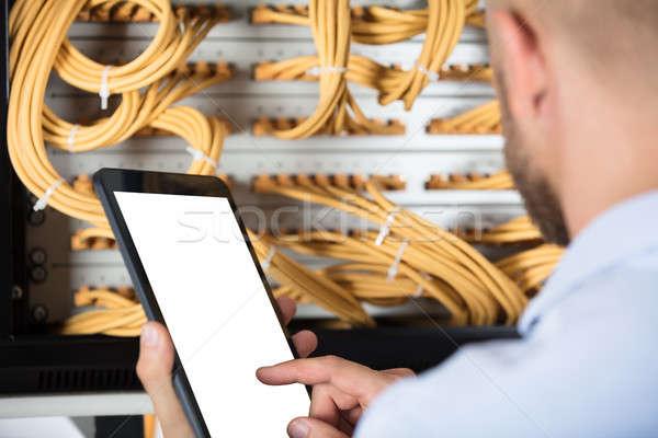 Teknisyen çalışma Sunucu veri merkezi erkek teknoloji Stok fotoğraf © AndreyPopov