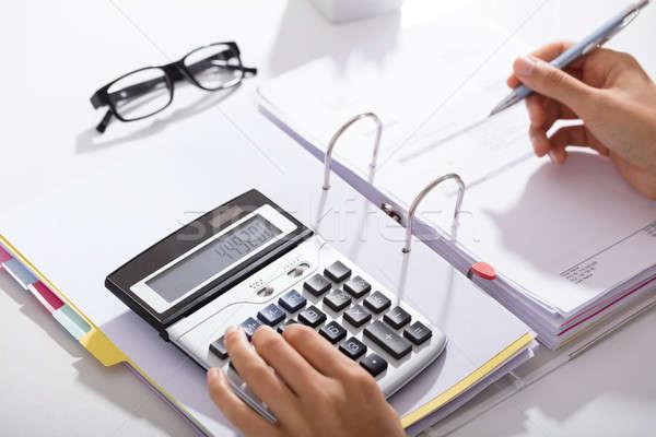 Kantoor calculator tabel Stockfoto © AndreyPopov