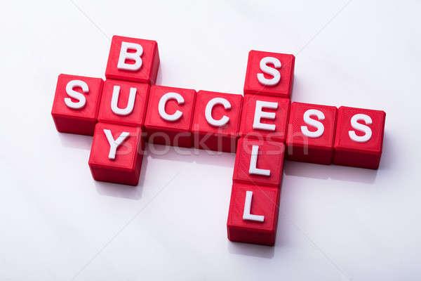Foto stock: Comprar · vender · sucesso · palavras · cruzadas · palavras · branco