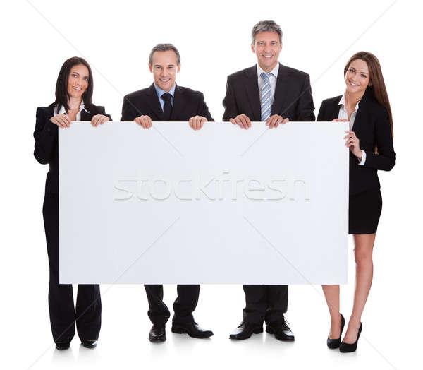 Geschäftsleute halten Plakat Porträt weiß Mann Stock foto © AndreyPopov